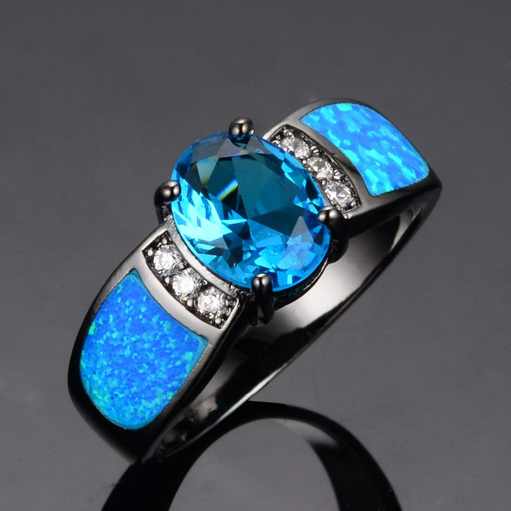 Ocean Blue Opal Rings 14KT Black Gold Filled Size 6,7,8,9 - Blackwater River Emporium