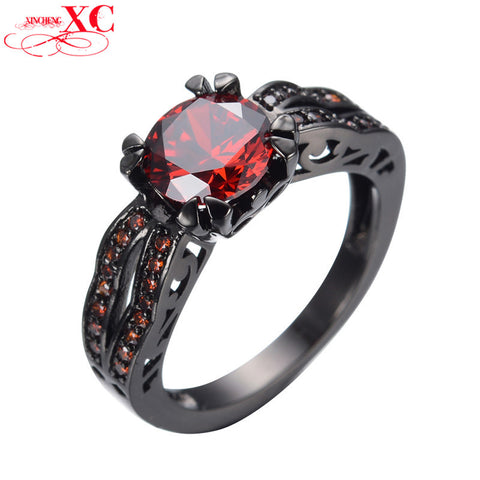 Ring Black Gold Filled Red Crystal Stone - Blackwater River Emporium