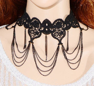 Lace Black Choker Chain Necklace - Blackwater River Emporium - 2