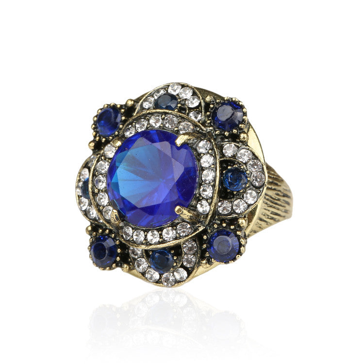 Retro/Victorian Style Ring With Blue Stones - Blackwater River Emporium