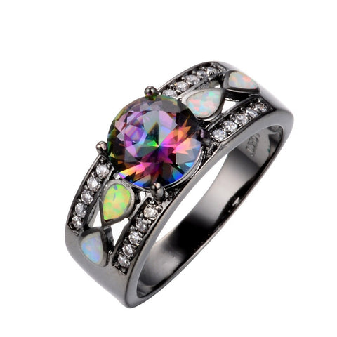 Rainbow Opal Rings Colorful CZ 10KT Black Gold Filled Size 6/7/8/9 - Blackwater River Emporium