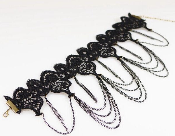 Lace Black Choker Chain Necklace - Blackwater River Emporium - 3