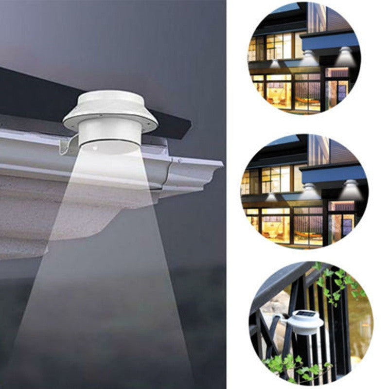 LED Solar Powered Fence Gutter Light Outdoor Garden Yard Wall ...