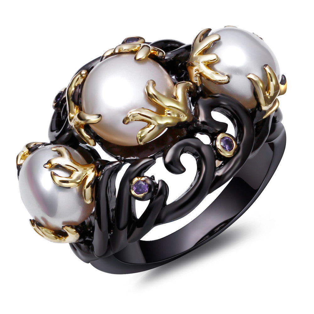 CZ Ring Black Gold Plated With Pearls Size 6,7,8,9 - Blackwater River Emporium