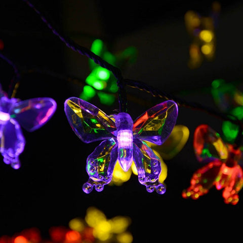 Solar Lamps 4.8M 20LEDs Colorful Butterfly Garland FairyLights - Blackwater River Emporium