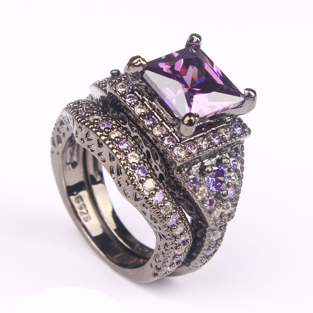 Black or Platinum Plated Ring Sets  Purple CZ  Rings - Blackwater River Emporium