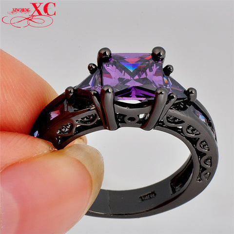 Purple Amethyst CZ 14KT Black Gold Filled Ring   Sizes 6/7/8/9/10 - Blackwater River Emporium
