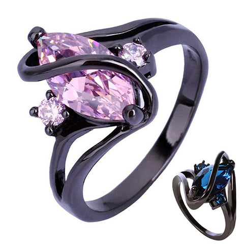 Women's Black Gold Plated Ring Cubic Zirconia Blue or Pink Stone Size 6,7,8,9 - Blackwater River Emporium