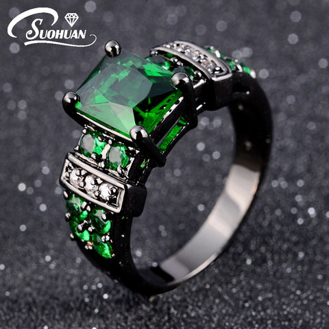 Emerald Cz in Black Gold Plated Ring  Sizes 6,7 8,9,10 - Blackwater River Emporium