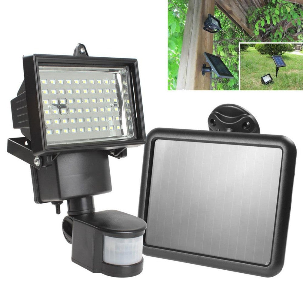 Solar Panel LED Flood Security Garden Light PIR Motion Sensor 60 LEDs Path Wall Lamps Outdoor Emergency Lamp - Blackwater River Emporium