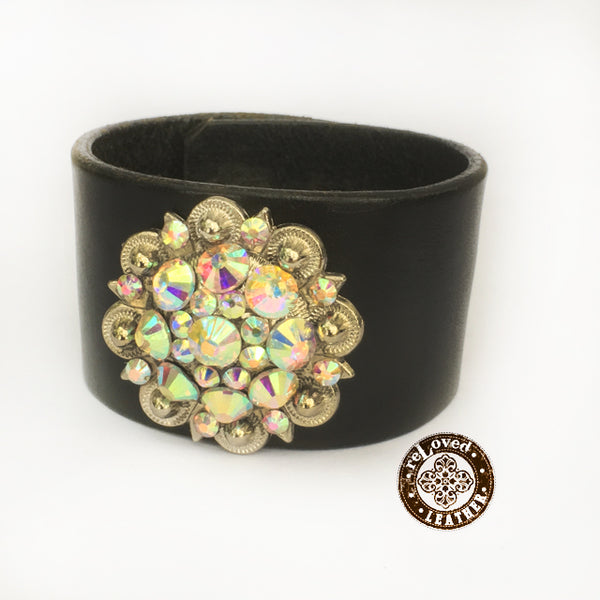 reLoved Leather Crystal Casual Cuff - Classic Black