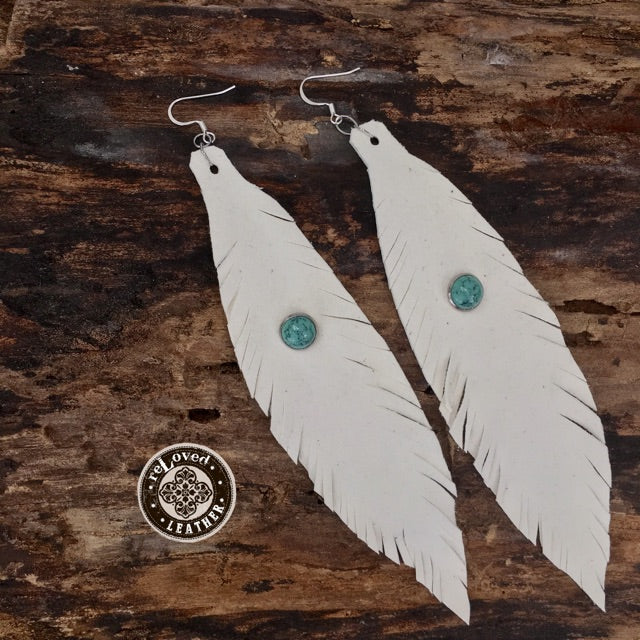 reLoved Leather Signature Leather Feather Fringed Earrings Handcut Cream w/Turquoise Stud