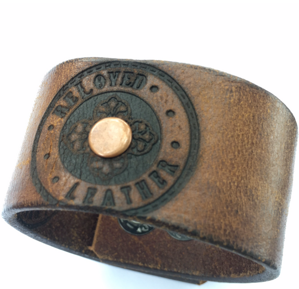 reLoved Leather Signature Logo Cuff Bracelet - Unisex