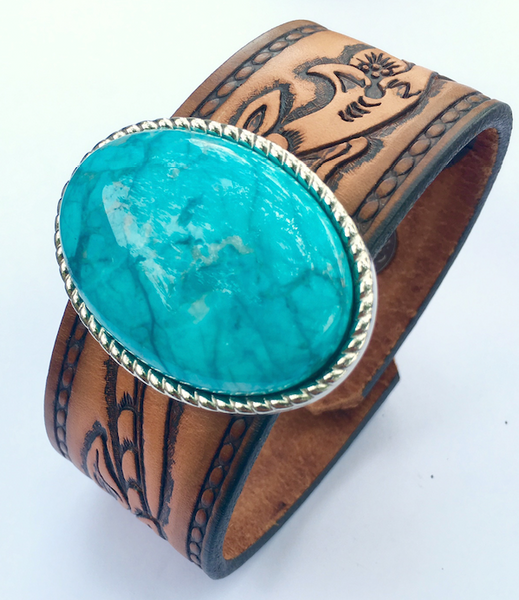 Turquoise Oval reLoved Leather Cuff Bracelet