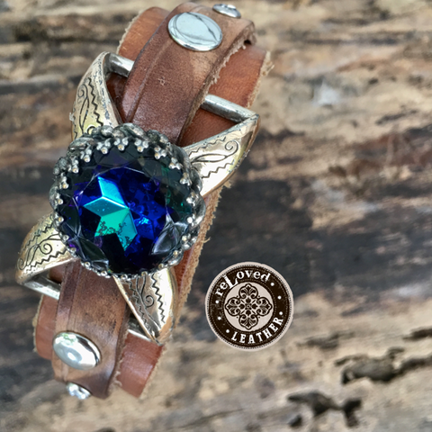 reLoved Leather Exclusive & Original Vintage Peacock Blue Schiaparelli Cuff Western Inspired