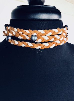 """Bohemian Wrapsody"" Two-Tone Leather Braided & Fresh Water Black Pearl Choker Wrap reloved leather designs"