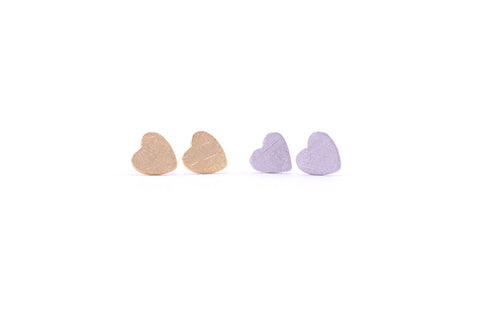 Heart Earring Studs Gold and Silver