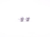 Hexagon Faceted Earring Studs Silver