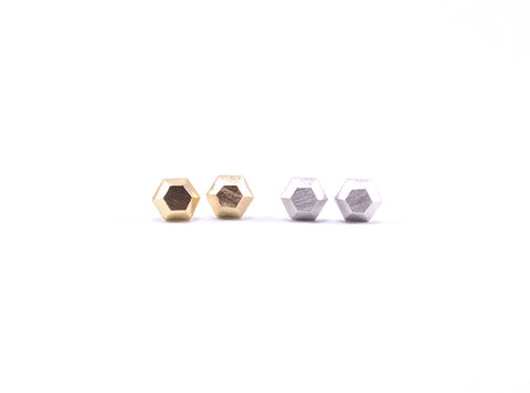 Hexagon Faceted Earring Studs Gold and Silver