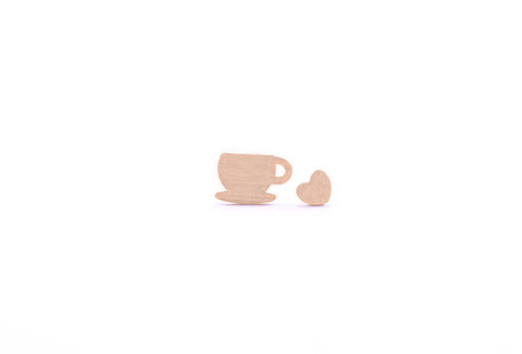 Coffee Love Earring Studs Gold