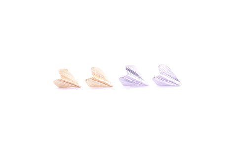 Paper Airplane Earring Studs Gold and Silver