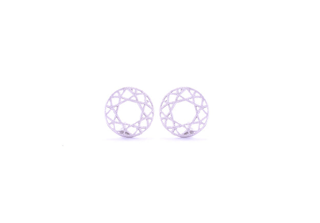 Round Lace Earring Studs Silver