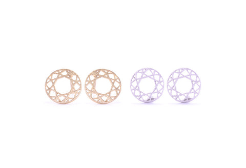 Round Lace Earring Studs Gold and Silver