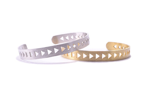 Triangle Bracelet Cuff - Silver and Gold