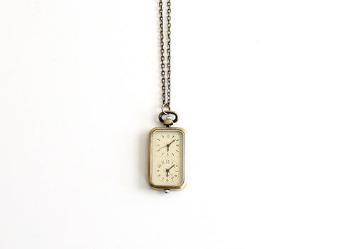 Double Clock Watch Necklace