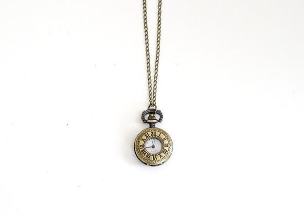 Roman Numeral Dial Watch Necklace