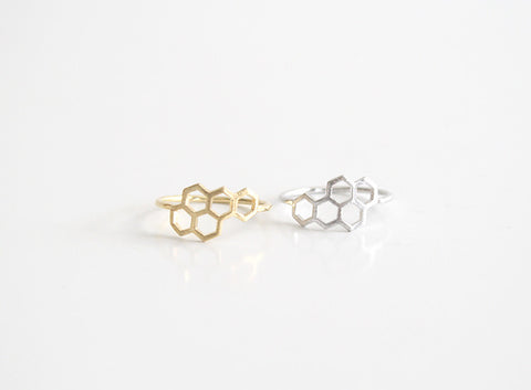 Honeycomb Ring Gold and Silver