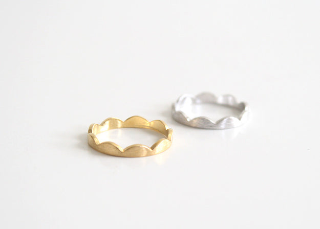 Scallop Ring Gold and Silver
