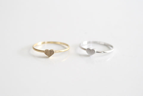 Tiny Heart Ring Gold and Silver