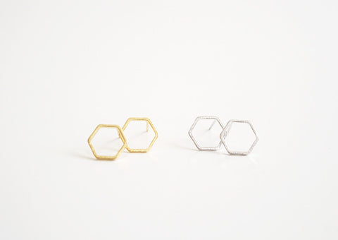 Hexagon Cut Out Earring Studs