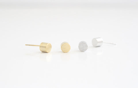 Cylinder Earring Studs Gold and Silver