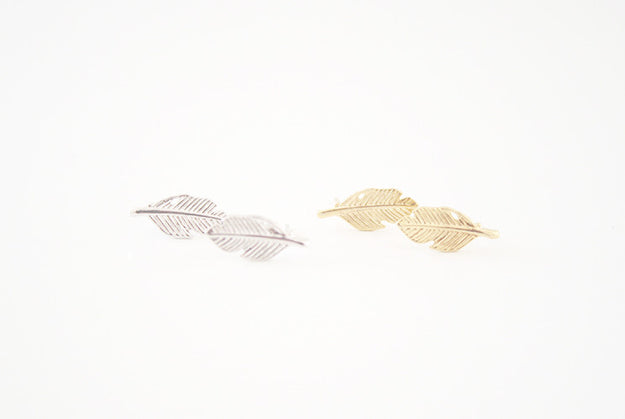Feather Earring Studs Gold and Silver