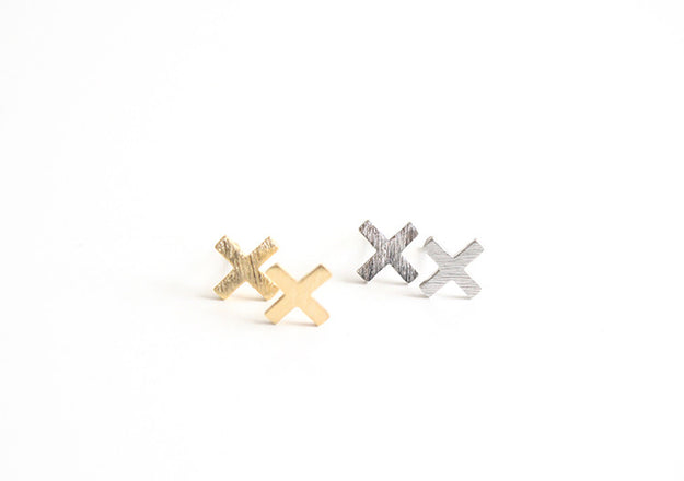 Plus Earring Studs Gold and Silver