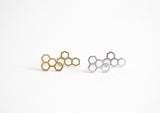 Honeycomb Earring Studs Gold and Silver