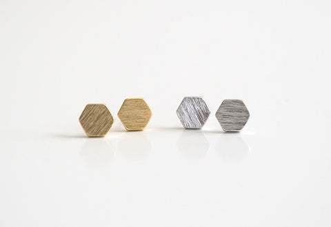 Hexagon Earring Studs Gold and Silver