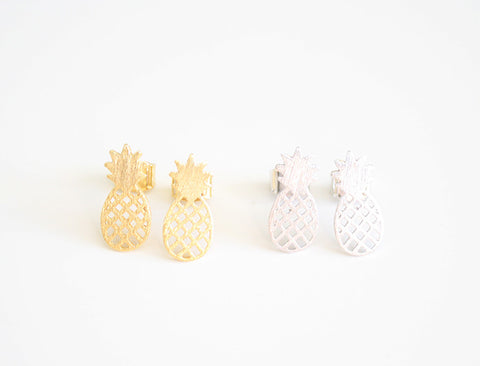 Pineapple Earring Studs Gold and Silver