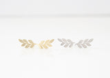 Leaf Earring Studs Gold and Silver