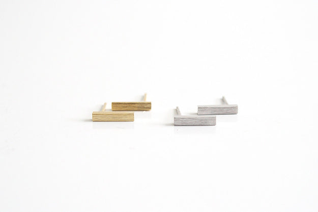 Bar Earring Studs Gold and Silver