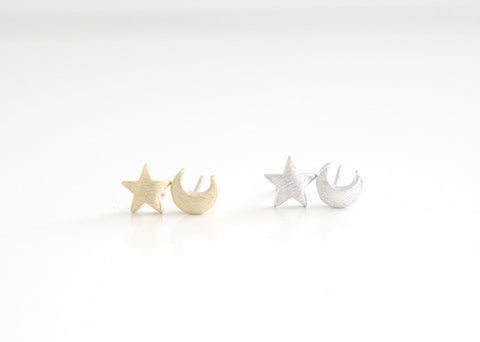 Moon & Star Earring Studs