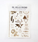 Temporary Tattoos in Gold Metallic, Set #1