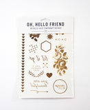 Temporary Tattoos in Gold Metallic, Set #2