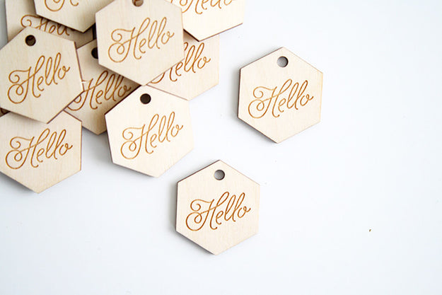 Hello Wood Tag