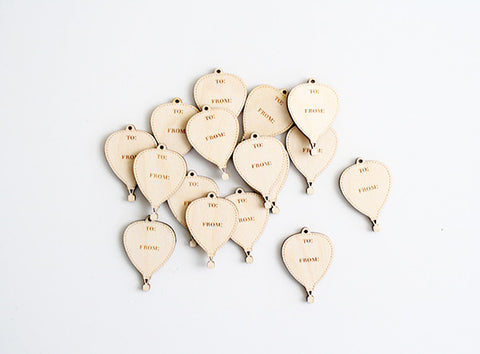 To/From Balloon Wood Tag