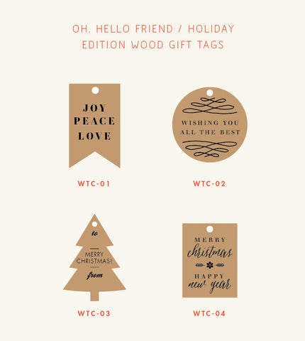 Holiday Wood Gift Tag – Festive Messages