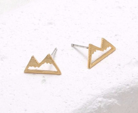 Mountain Earring Studs Gold