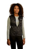 Black quilted puffer vest (womens) - front